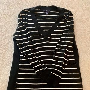 Gap Black and White Striped Sweater